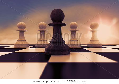 Black pawn in front of white pawns against blue sky with white clouds