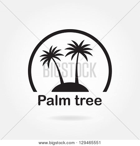 Palm tree icon or sign. Symbol of two black palm trees silhouette on the island.