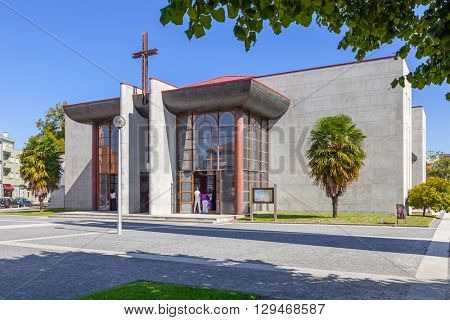 Vila Nova de Famalicao, Portugal. September 06, 2015: Modern Catholic church in Vila Nova de Famalicao, Portugal. Saint Adrian Mother Church / Nova Igreja Matriz de Santo Adriao.