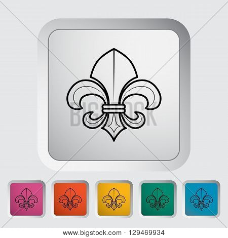 Fleur. Single flat icon on the button. Vector illustration.