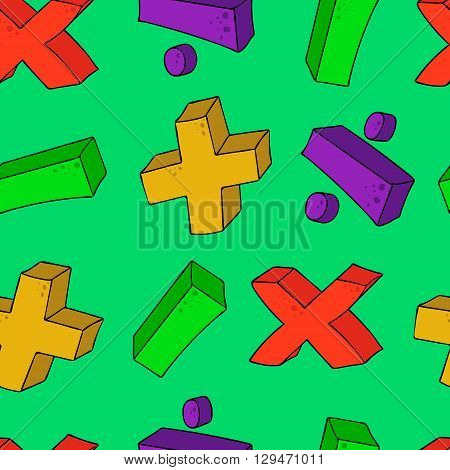 freehand drawn cartoon math symbols plus minus multiply divide volume seamless pattern