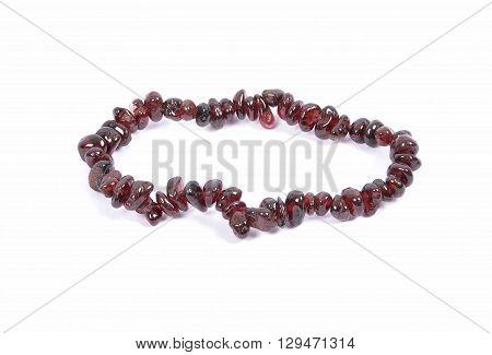 Splintered Garnet Chain On White Background