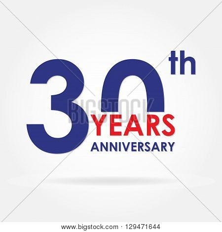 30 years anniversary sign or emblem. Template for celebration and congratulation design. Colorful vector 30th anniversary label.