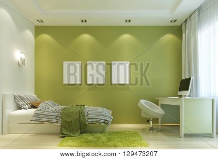 Design a child's room in a Contemporary style with a bed and a desk. The walls in light green color and all the furniture is white. On the wall poster mockup. 3D render.