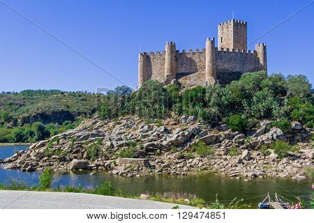 Templar Castle of Almourol. One of the most famous castles in Portugal. Built on a rocky island in the middle of Tagus river.