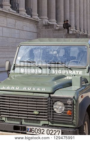 LYON FRANCE - APRIL 6 2015 : French army car parked in front of courthouse to patrol for Plan Vigipirate (France's national security alert system) against possible terrorist attacks.