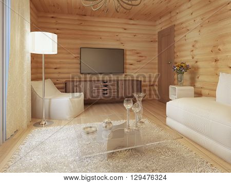 living room interior in a log house with the console and TV and soft tissue with a sofa chair. 3D render.