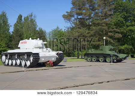 LENINGRAD REGION, RUSSIA - JUNE 08, 2015: Soviet tanks KV-1 and BT-5 - the participants of hostilities in the great Patriotic War. Historical sights in Leningrad region in Russia