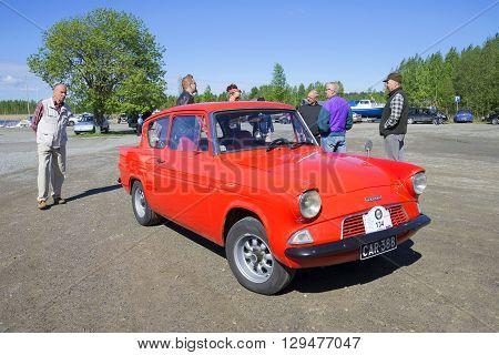 KERIMYAKI, FINLAND - JUNE 06, 2015: Ford Anglia 105E - the participant of parade of vintage cars in Kerimyaki