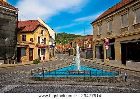 Town of Samobor historic architecture and fountain northern Croatia