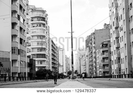 Sao Paulo SP Brazil FEB 26 2012: Streets Sao Paulo Elevado Costa e SIlva Downtown urban life style and recreation in a big city