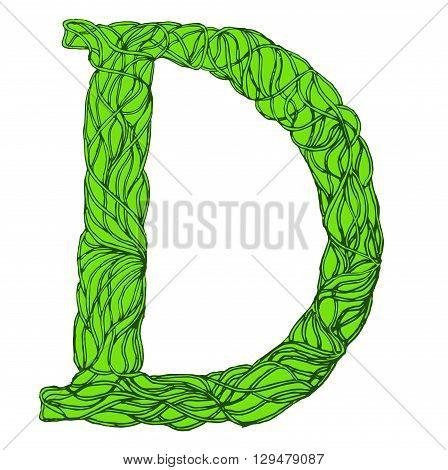 Herbarium font, type. Herbal vector letters. Letter D . Green herbal letter.