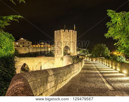 The Walls of the Besalu Bridge Spain