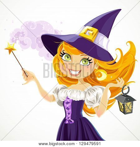 Cute Young Witch With Magic Wand And Flashlight Isolated On A Wh
