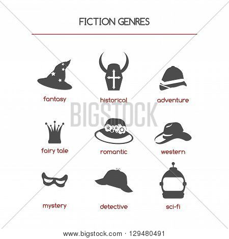 Set of fiction genre icons. Features fantasy, historical, romantic fiction, adventure and other