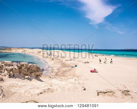 The beach of Ses Illetes Formentera, Spain