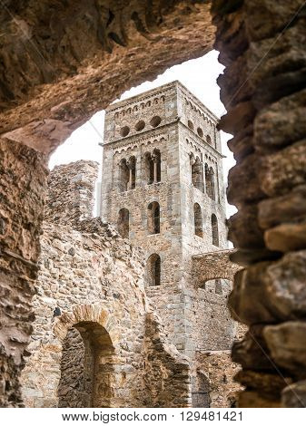 The tower of the Sant Pere de Rodes monastery Catalonia Spain.