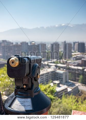 Watching the city of Santiago de Chile from the Santa Lucia hill