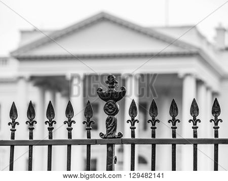 View of the fence in the White House Washington DC