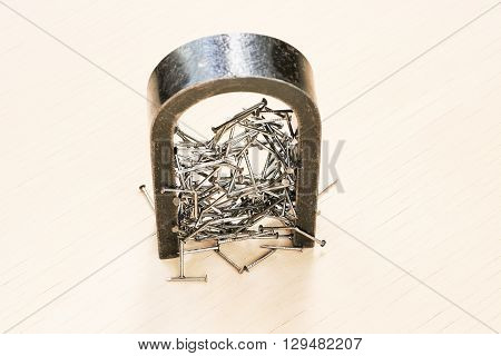Magnetic field of a magnet pull iron nails