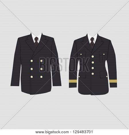 Vector illustration of military uniform warpaint. Captain jacket with tie. Winter coat