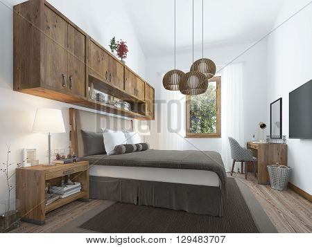 Bedroom loft-style with wooden furniture and white walls. Rustic ideas bedroom interior. A large bed with bedside tables and shelves above it. 3D render.