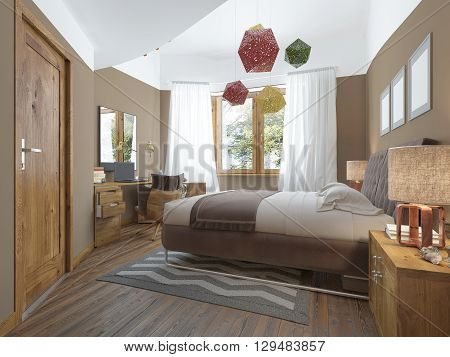 Modern bedroom in the style of Contemporary bedside tables with lamps shining on them. The bedroom has a dressing and a desk with a laptop and decor. with elegant wooden ceiling chandelier. 3D render.