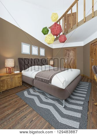 Luxury bright bedroom in the loft. The bedroom brown walls and white ceiling. Quilted headboard and above him three paintings in mockup poster style. The brown wooden floor and gray striped carpet. At the second level balcony. 3D render