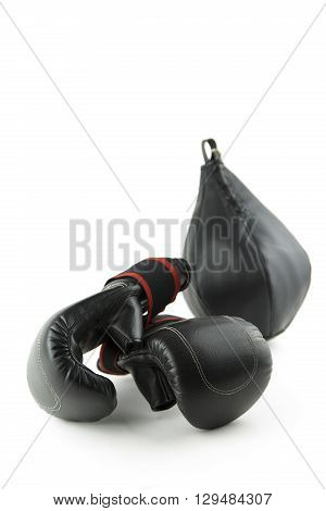 the equipment isolated portrait of a boxer
