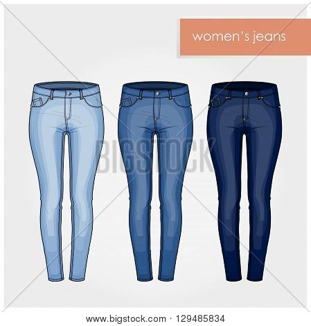 Fashion illustration. Five pockets skinny woman jeans.