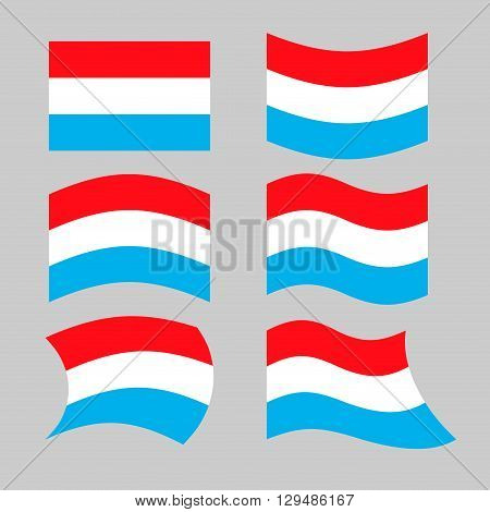 Luxembourg Flag. Set Flags Grand Duchy Various Forms. Developing Flag Of Luxembourg