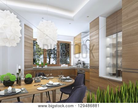 Modern kitchen in the dining room Contemporary style. kitchen facades of light wood with a hood over the stove and built-in appliances. Metal working surface. 3D render.