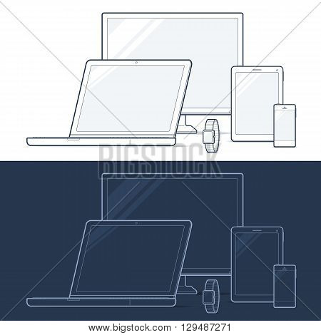 Set of Electronic Devices  - Desktop Computer Monitor, Notebook Laptop, Tablet, Mobile Cell Phone and Wearable Wrist Smart Watch