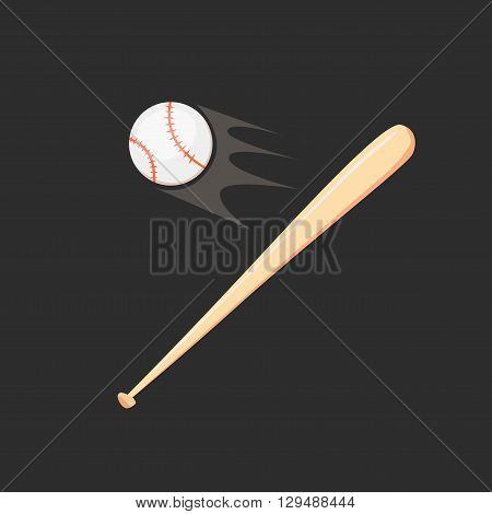 Baseball and baseball bat isolated on black background. Vector illustration. Cartoon flat style