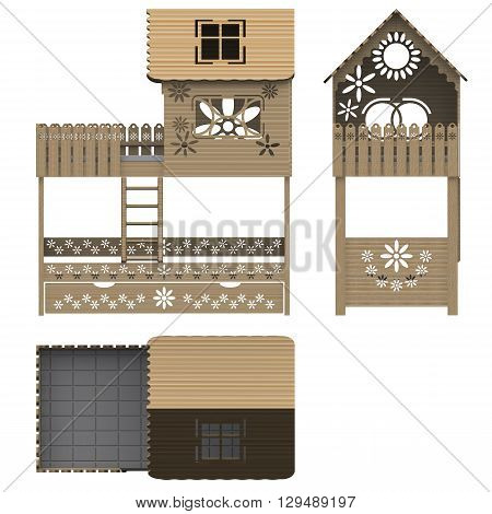 Wooden children's bunk bed. Isolated. 3D Illustration