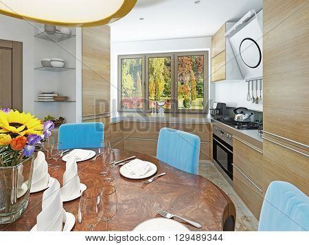 Modern kitchen dining room in the style of kitsch. Kitchen with light wood dining table for six persons. 3D render.