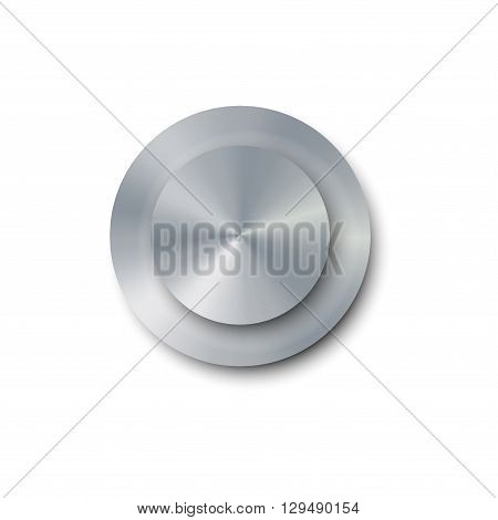 Vector illustration realistic screw bolt isolated on white background. Bolt cap top view. Metal shiny screw bolt