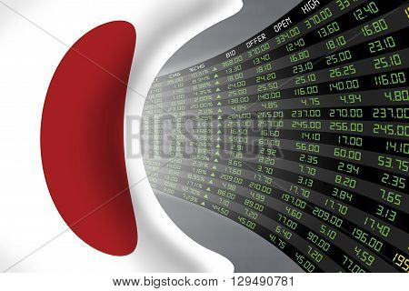 Flag of Japan with a large display of daily stock market price and quotations during economic booming period. The fate and mystery of Japan stock market tunnel/corridor concept.