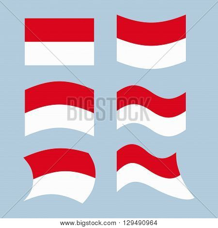 Indonesian Flag. Set Of Flags Of Indonesian Republic In Various Forms. Developing Indonesian Flag As