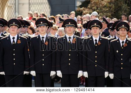Orel Russia - May 9 2016: Celebration of 71th anniversary of the Victory Day (WWII). Cadets in uniform horizontal