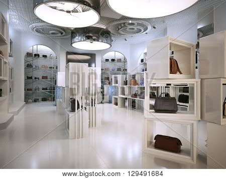 Luxury store interior design art deco style with hints of Contemporary. Interior white store with lots of shelves. Shop for the sale of bags on the shelves of handbags. 3D render.