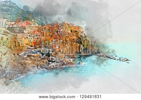 Digital watercolor painting of Manarola. Manarola is a small town in the province of La Spezia Liguria northern Italy.