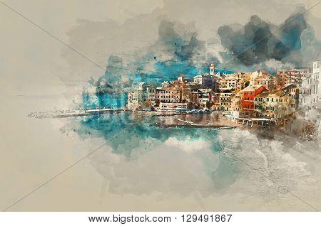 Digital watercolor painting of Bogliasco. Bogliasco is ancient fishing village in Italy. Province of Genoa
