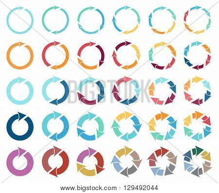 30 arrow pictogram refresh reload rotation loop sign set. Simple color web icon on white background. Vector illustration