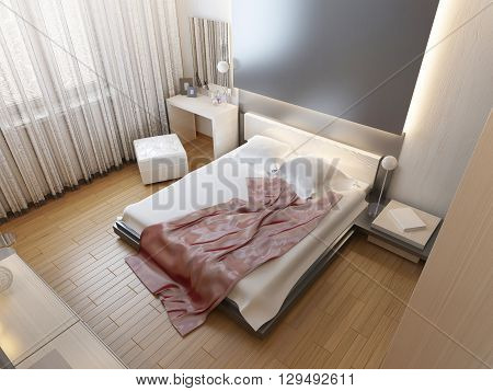 Bedroom in oriental style light with red and yellow flowers. Bedroom with a large bed sliding wardrobe and a media system with a TV. 3D render.