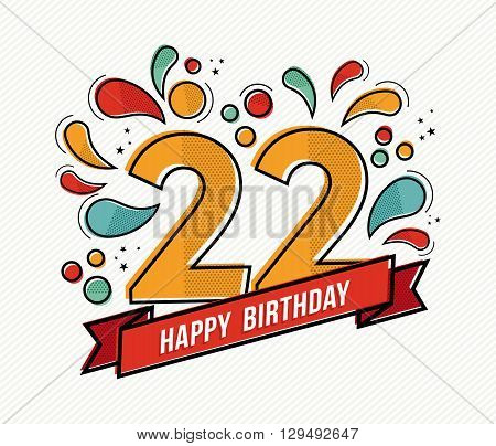 Colorful Happy Birthday Number 22 Flat Line Design
