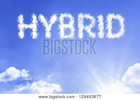 Hybrid cloud word with a blue sky