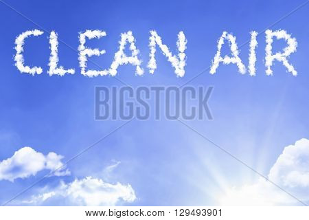 Clean Air cloud word with a blue sky