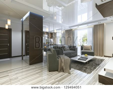 Luxury living room studio in a modern style with comfortable armchairs and a sofa in olive green. Studio apartment with kitchen and living room and a hallway with cloakroom. 3D render.