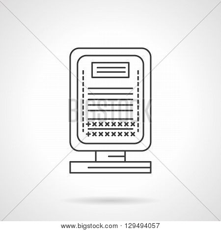 Luminous small billboard or lightbox. Outdoor advertising for night city, urban lighting. Marketing objects. Flat line style vector icon. Single design element for website, business.